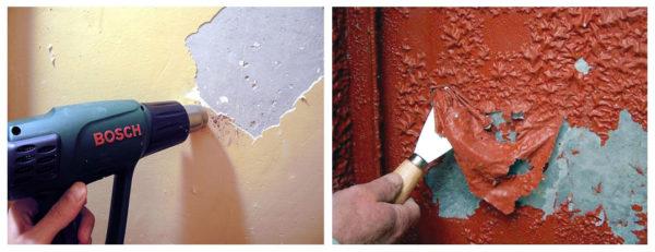 Как снять старую краску стен