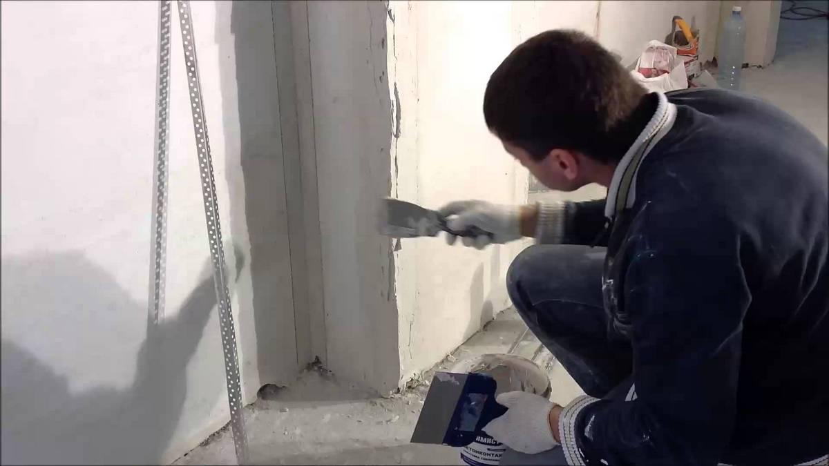 установка уголков на штукатурку
